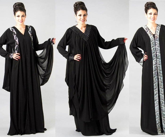 V-Neck Plain Black Designers Abayas