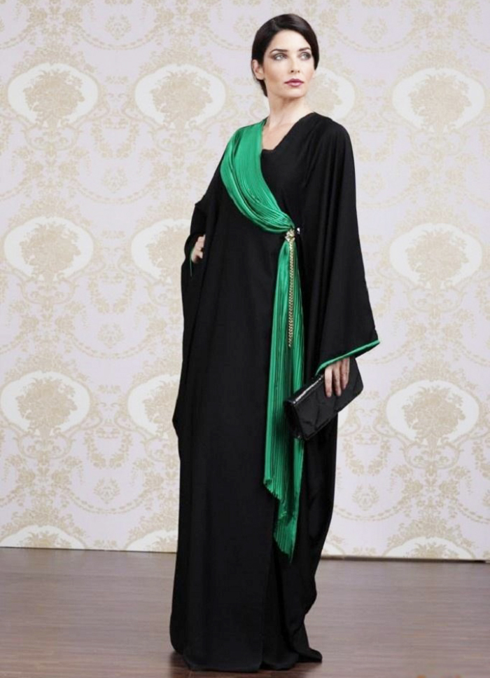 Simple Black with Green Hijab Designer Abayas