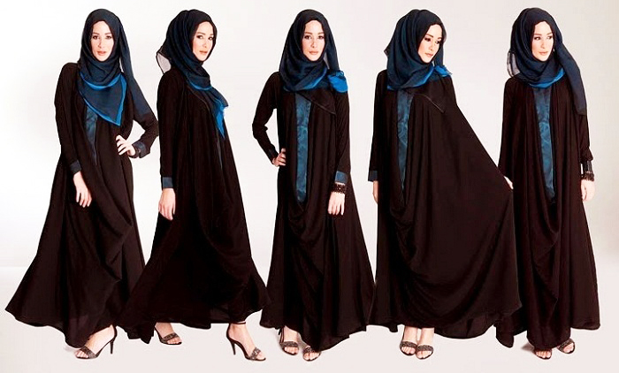 Chocolate Brown with Blue Hijab Designer Abayas