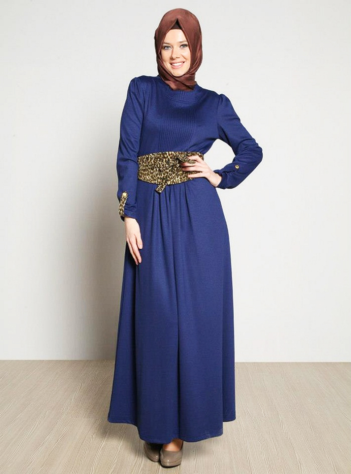 Blue Designer Abayas with Cheeta Print Belt