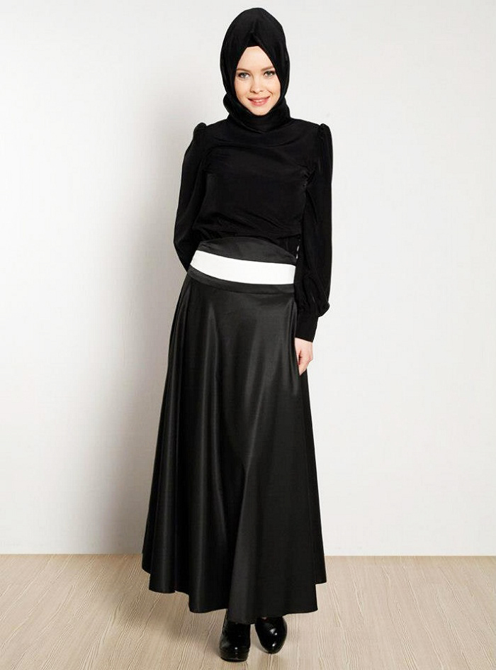 Black Frock Style Designer Abayas with Belt