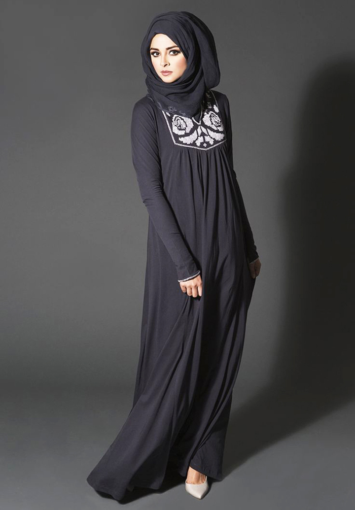 Coal Color Closed Style Designer Abayas