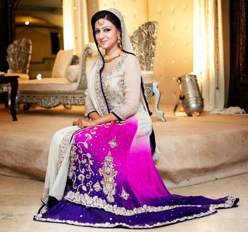 grey and purple shaded bridal walima dress
