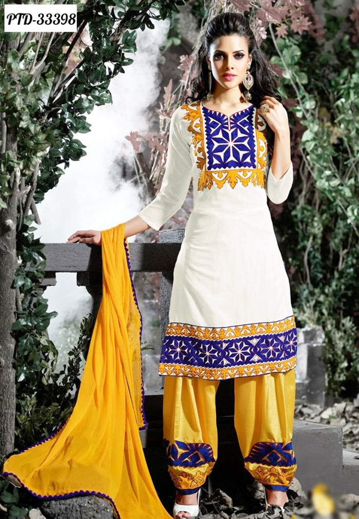 White and Yellow Patiala Shalwar Kameez 2016