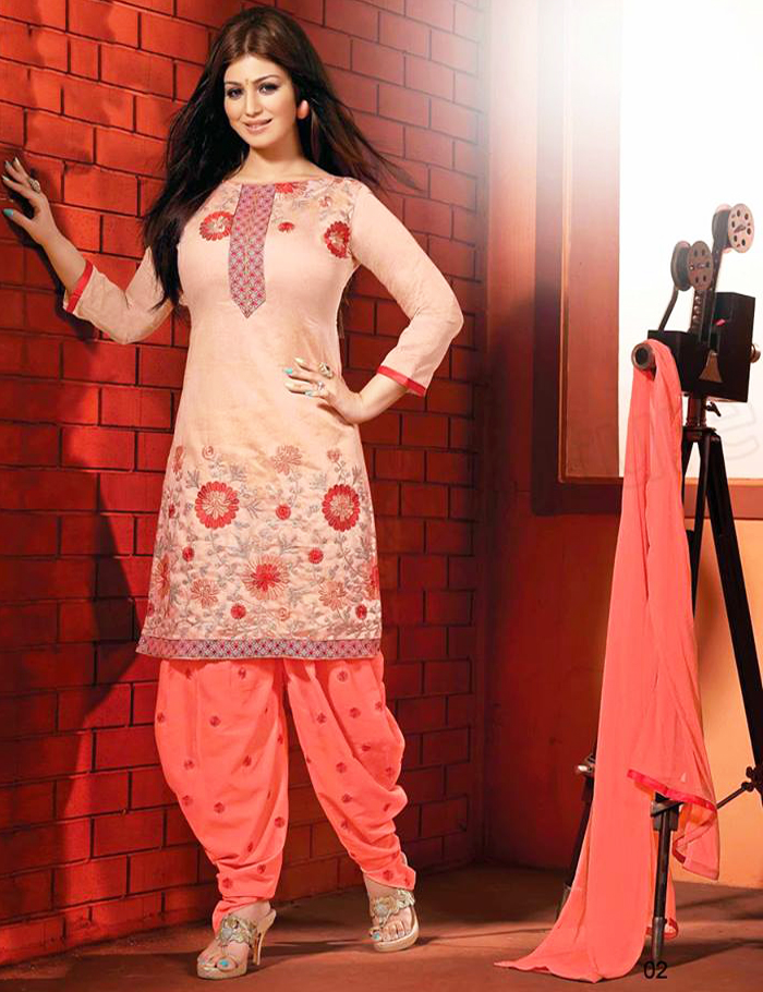 Peachy Patiala Shalwar with embroided Kameez 2016