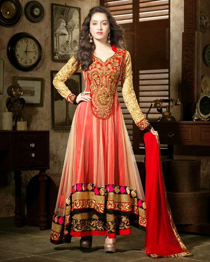 Latest designer anarkali suits for girls 2013 with price