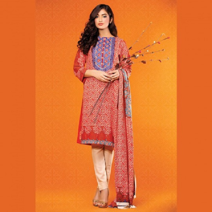 Printed red with blue embroidered neck 3piece by warda