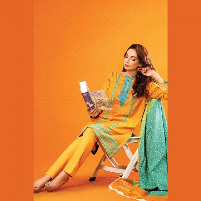 Yellow 3-piece suit with blue embroidered neck fall collection by warda