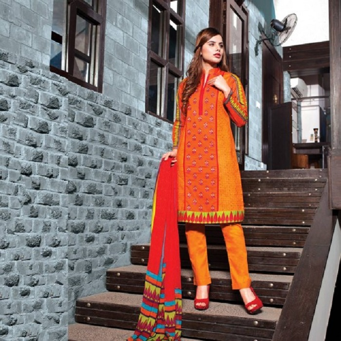 Mustard and red fusion 3pc suit by Warda for winters