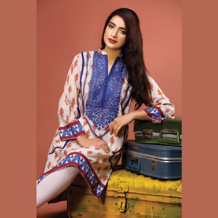 off white kurta with Blue embroidered neck