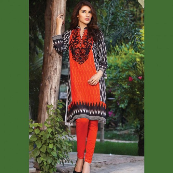 Black and orange print with embroidered neck By warda