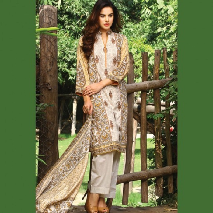 White printed 3-piece fall suit by warda