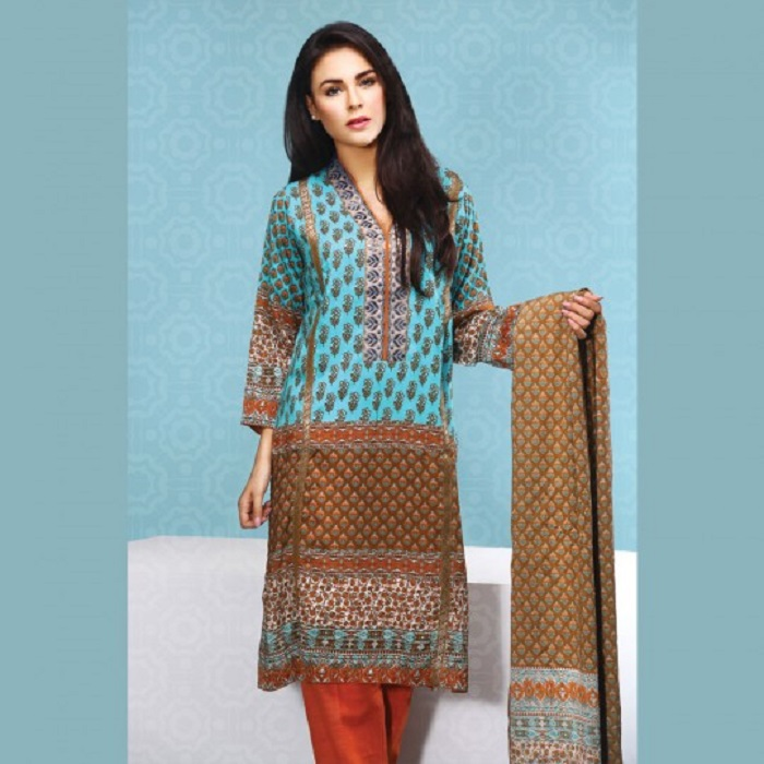 Aqua blue printed shirt with light orange trouser 3-piece fall suit By warda