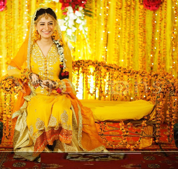 Yellow Long Shirt with Lehnga Mehndi Dresses