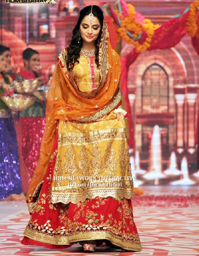 Long yellow Shirt with red floral lehnga Mehndi dresses