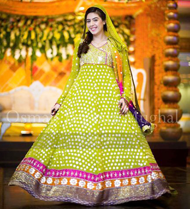 long frock style mehndi dress for brides