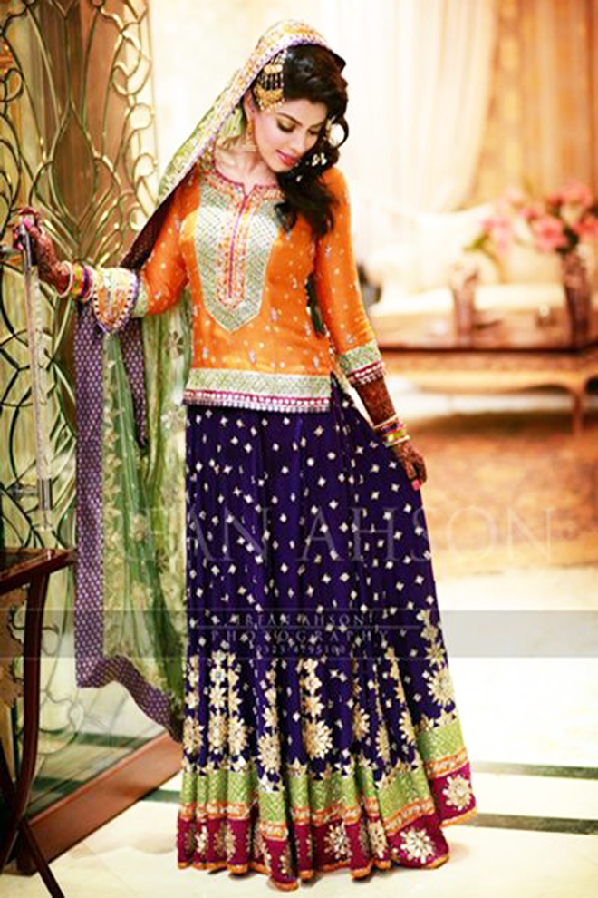 choli with lehenga bridal mehndi dress
