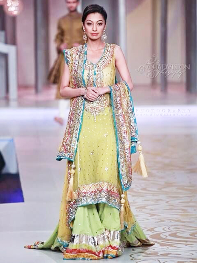 green mehndi dress with sharara