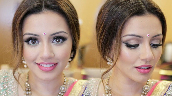 front parting indian loose wedding updo hairstyle