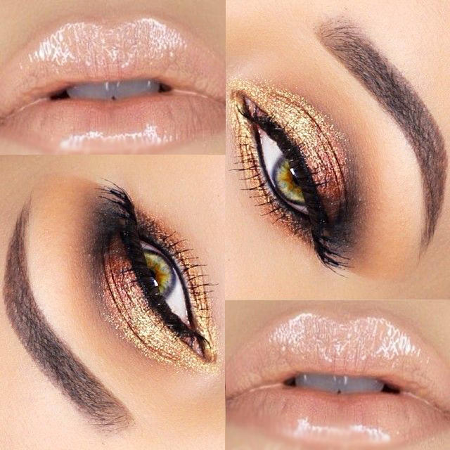 golden eyes winter makeup with glossy lips