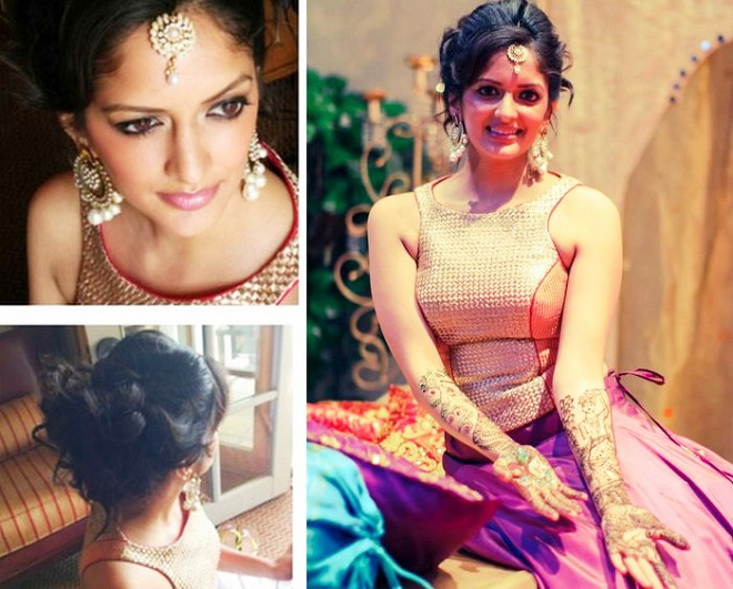 indian wedding updo with curly fringes