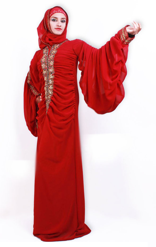 red bridal abaya with hijab for wedding