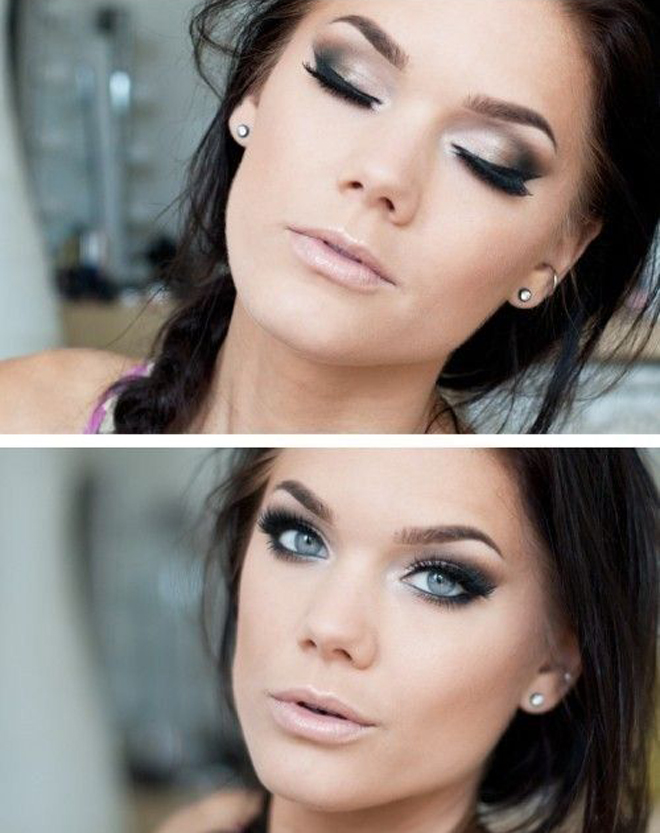 smokey eyes with nude lips winter makeup