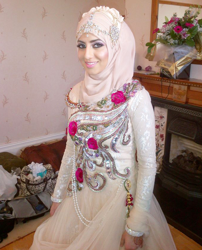 trendy hijab style for wedding bride
