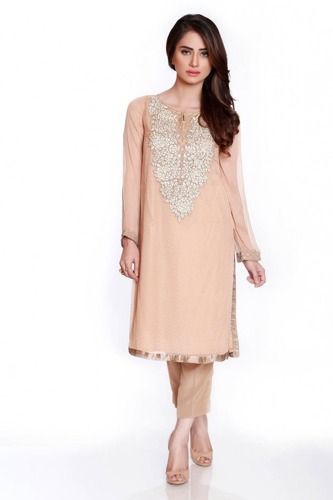 Peach Crepe Fancy Eid Attire by Chinyere 2016