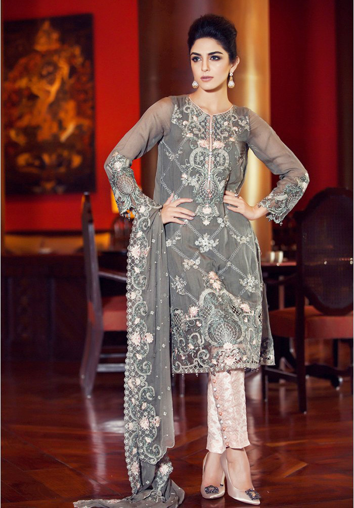 Embroidered Grey Fancy Eid Attire by Maria.B 2016