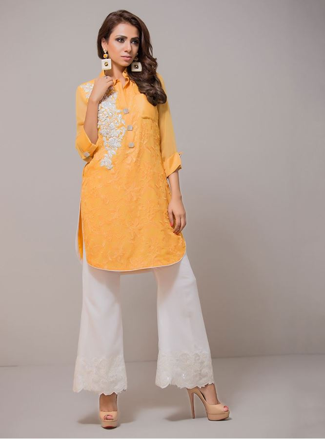 Zainab Chottani Eid Wear Fancy Yellow Kurta 2016