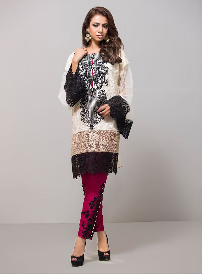 Ivory and Magenta Fancy Eid Dress 2016 By Zainab Chottani