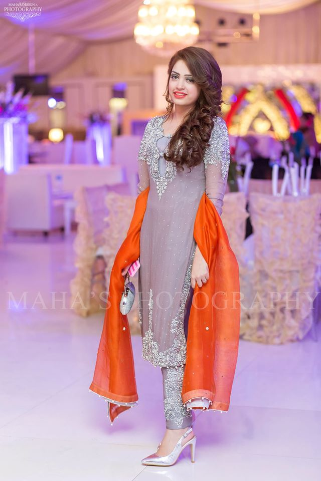 Boutique Styled Grey Dress with Orange Dupatta