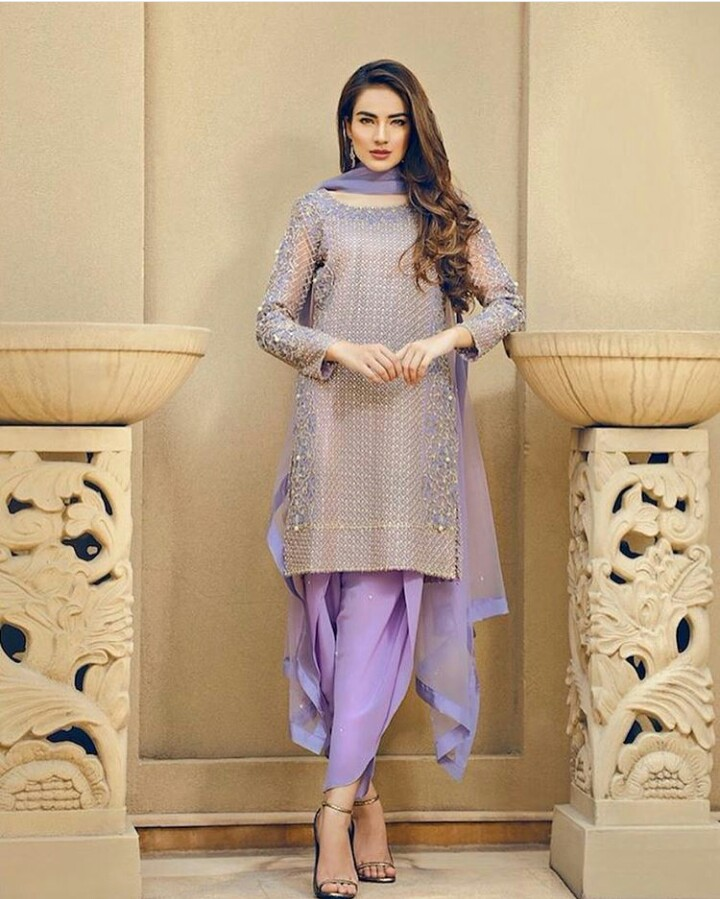 Purple Fancy Attire with Tulip Shalwar