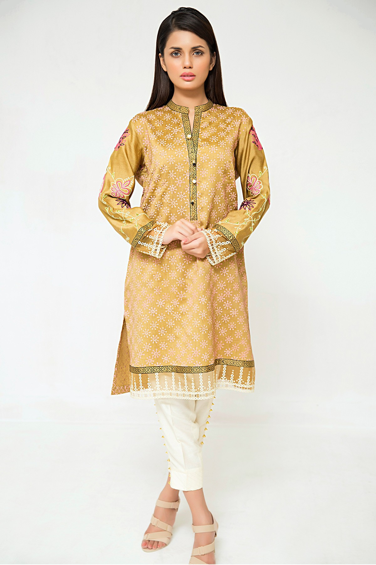 Alluring Bronze Gold Eid Attire by Sana Abbas