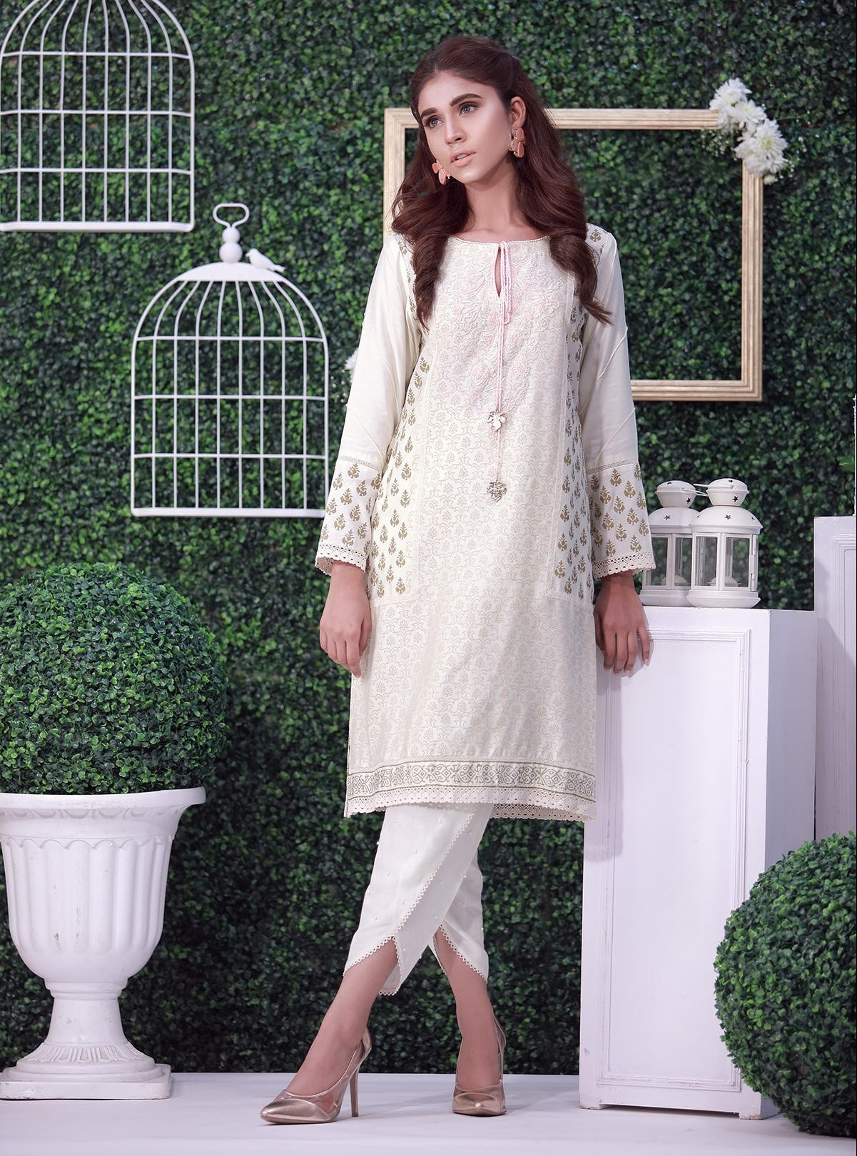Designer Wear White Dress with Tulip Pant