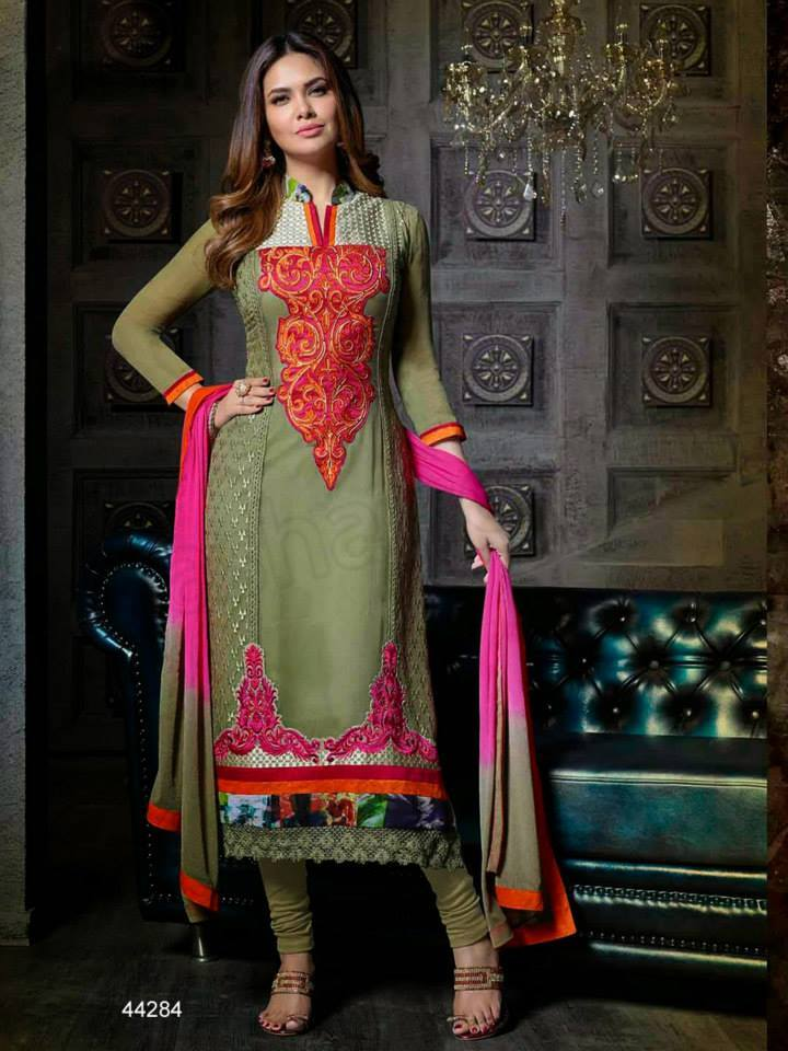 Green Straight Cut Shalwar Kameez Suit for Parties
