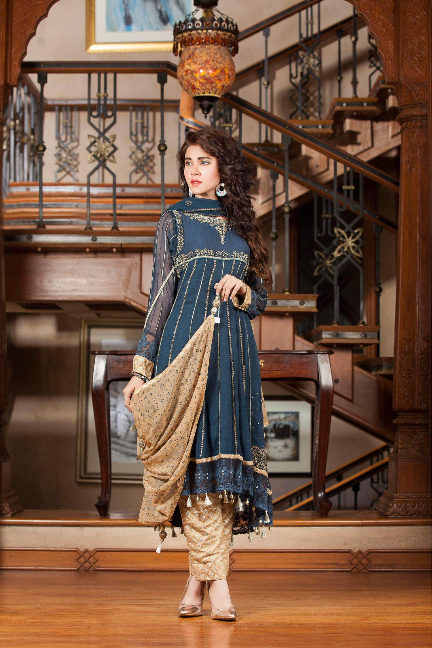 Latest Party Wear Fancy Tilla Embroidered Frock