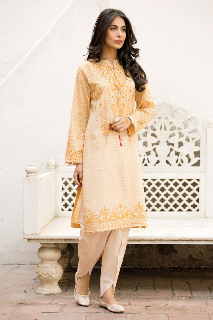 Beige Orange Embroidered Dress by Kayseria