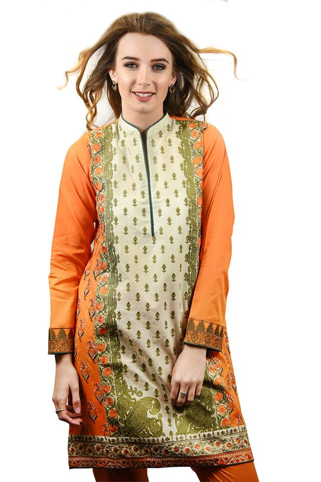 Orange Ready to Wear Eid Dress 2017 by Nimsay
