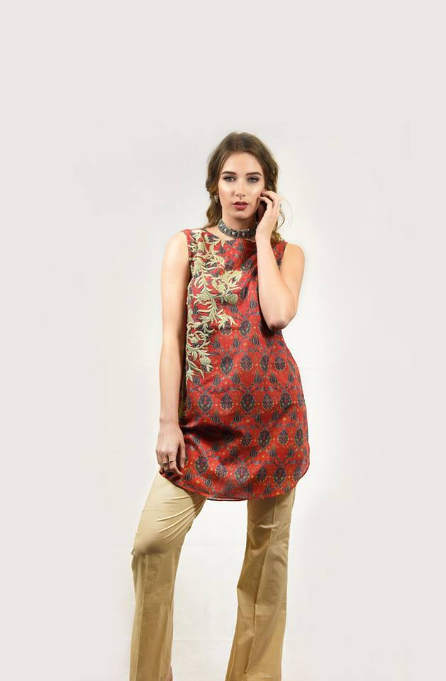 Red Emboridered Top for Eid 2017 by Nimsay
