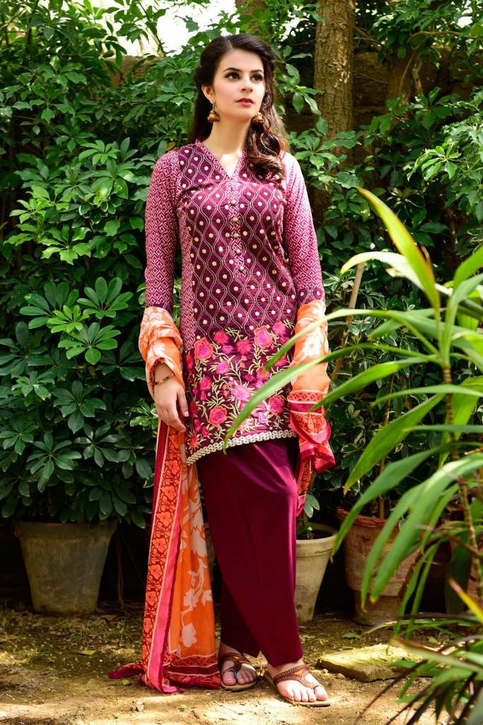 3 Piece Magenta Eid Wear Dress 2017 by Satrangi
