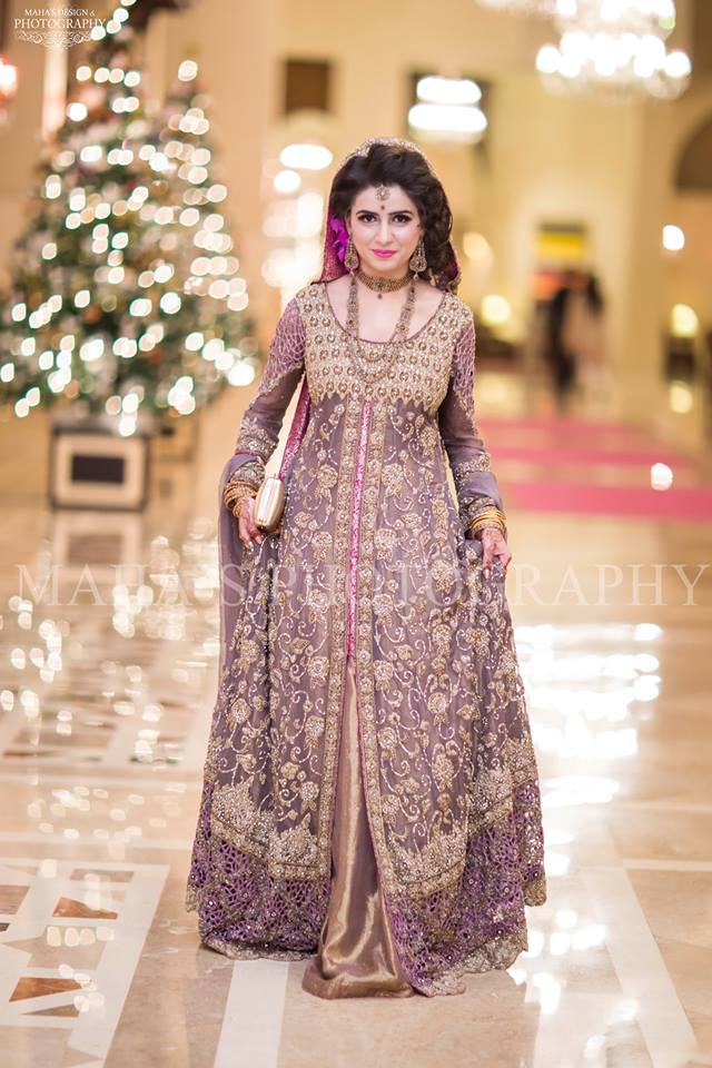 Beautiful Purplish Bridal maxi with full sleeves