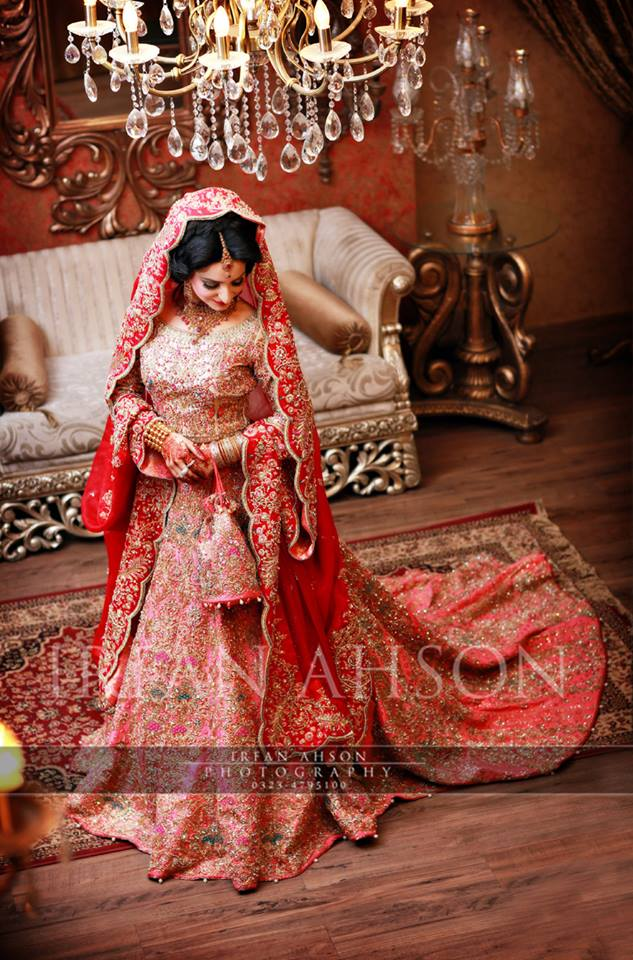Amazing Peach Lehenga for Pakistani Brides