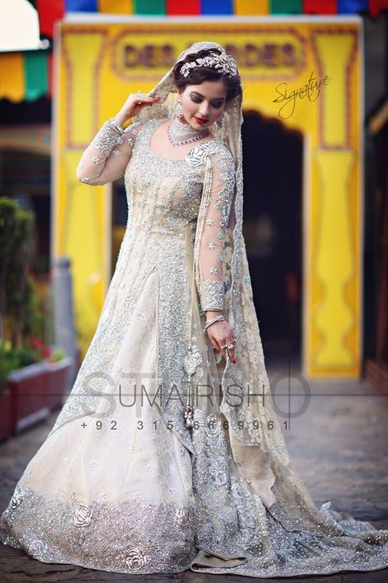 Grey Wedding wear Gown Collection 2017