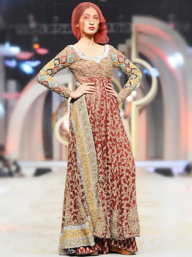HSY Maroon Full Sleeves Bridal Fancy Maxi