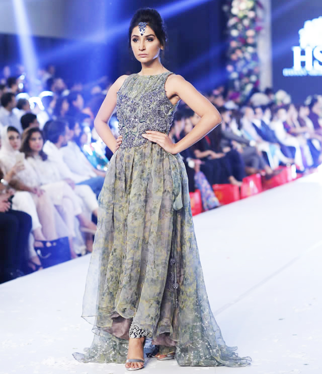 HSY Bridal Grey Maxi Style Frock for Walima