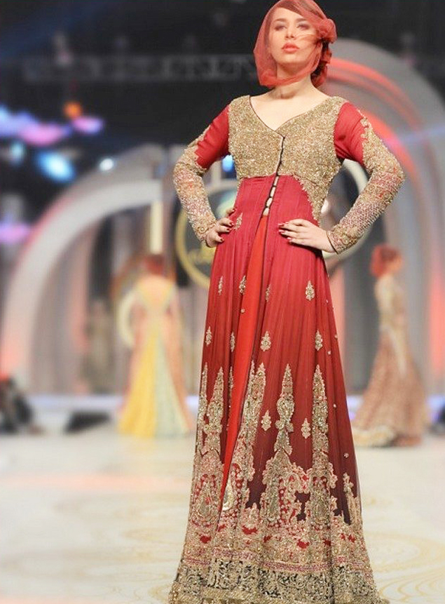 Bridal Angrakha Style Long Gown Dress by HSY