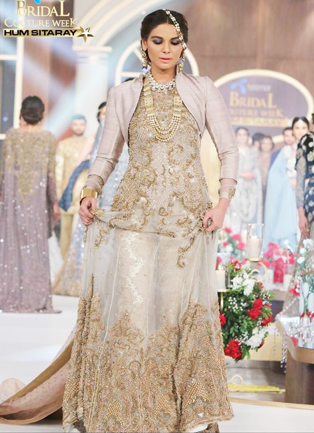 HSY Silver Longtail Gown Dress for Pakistani Brides
