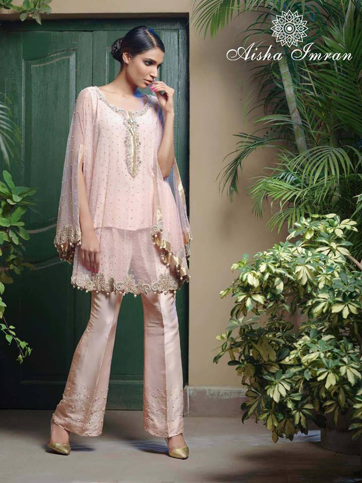 light pink cape style dress with bell bottom trouser
